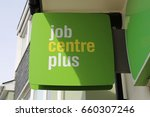 Small photo of Machynlleth, Powys, Wales, UK. 14 June 2017. Job Centre Plus Sign.