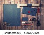blank black stationery set on... | Shutterstock . vector #660309526