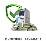 atm surrounded by 100 dollar... | Shutterstock . vector #660326545