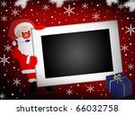 Abstract vector illustration with Santa and  photo frame surrounded by white snowflakes - stock vector
