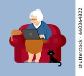 grandmother and laptop an... | Shutterstock .eps vector #660364822