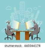 communication office worker   Shutterstock .eps vector #660366178