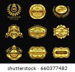 set of illustrations golden... | Shutterstock . vector #660377482