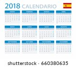 calendar 2018   spanish version ... | Shutterstock .eps vector #660380635