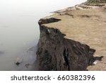 erosion of river bank. river...