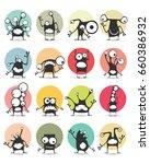 set of sixteen color stickers... | Shutterstock .eps vector #660386932