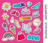 teenage girl style stickers ... | Shutterstock .eps vector #660389392