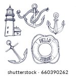 lighthouse  anchors  lifebuoy...   Shutterstock .eps vector #660390262