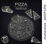 pizza sketch on a black board | Shutterstock .eps vector #660391396