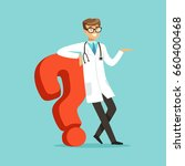 smiling male doctor character... | Shutterstock .eps vector #660400468