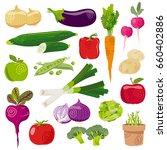 garden vegetables fresh cartoon ... | Shutterstock .eps vector #660402886