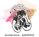 grunge sneakers background - stock vector