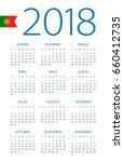 calendar 2018 year   portuguese ... | Shutterstock .eps vector #660412735