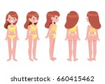female in underwear front  side ... | Shutterstock .eps vector #660415462