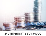 close up of rows coins for... | Shutterstock . vector #660434902