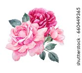 Stock photo watercolor illustration of a bouquet with a purple and delicate pink rose leaves and bud greeting 660449365
