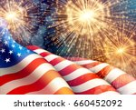fireworks background for 4th of ... | Shutterstock .eps vector #660452092
