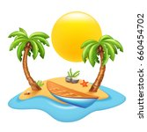 tropical island with boat and... | Shutterstock .eps vector #660454702