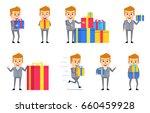 set of funny businessman... | Shutterstock .eps vector #660459928