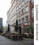 Small photo of HAMBURG, GERMANY - CIRCA MAY 2017: Alfresco restaurant in the city centre