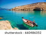 matala beach with turquoise... | Shutterstock . vector #660486352