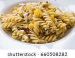 rotini fusilli pasta fried with ...   Shutterstock . vector #660508282