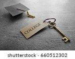 mini graduation cap and key... | Shutterstock . vector #660512302