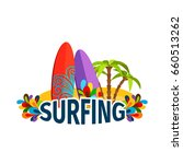 surfing poster with palm trees... | Shutterstock . vector #660513262