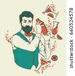 retro bartender making... | Shutterstock .eps vector #660524578