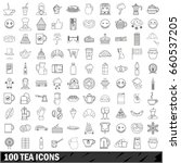 100 tea icons set in outline... | Shutterstock . vector #660537205