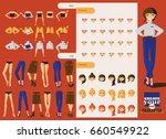lovely office girl character...   Shutterstock .eps vector #660549922