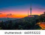 twilight seoul tower in spring... | Shutterstock . vector #660553222