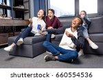 happy group of teenagers... | Shutterstock . vector #660554536