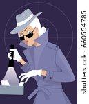 female secret agent or private... | Shutterstock .eps vector #660554785