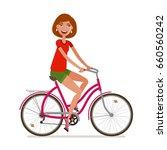 young beautiful girl riding... | Shutterstock .eps vector #660560242