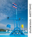 Small photo of Forecastle of Ship with Blue Sky, Thailand