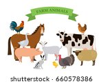 a set of farm animals in a... | Shutterstock .eps vector #660578386