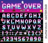 pixel retro font computer game... | Shutterstock .eps vector #660584368