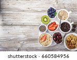 healthy fitness food from fresh ... | Shutterstock . vector #660584956
