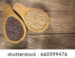 seeds of yellow and black... | Shutterstock . vector #660599476