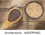 seeds of yellow and black... | Shutterstock . vector #660599482