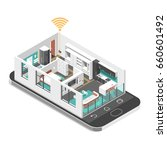 smart house concept. isometric... | Shutterstock .eps vector #660601492