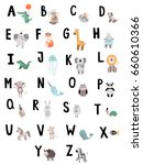 cute vector alphabet with... | Shutterstock .eps vector #660610366