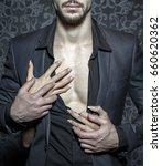 sexy stylish rich man undressed ... | Shutterstock . vector #660620362