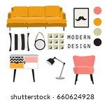 modern interior design vector...   Shutterstock .eps vector #660624928