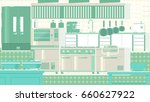 kitchen flat illustration | Shutterstock . vector #660627922
