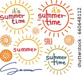 hand drawn summer logos and sun ... | Shutterstock .eps vector #660648112