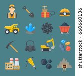 mining industry icon set.... | Shutterstock .eps vector #660660136