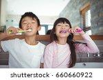portrait of siblings brushing... | Shutterstock . vector #660660922