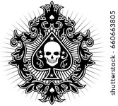 ace of spades with skull | Shutterstock .eps vector #660663805